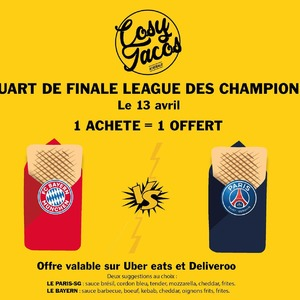 On a décidé de vous faire plaisir !! 💥 Rendez vous le 13 Avril 2021 💥 À l'occasion du match PARIS-SG _ BAYERN : 1 acheté = 1 offert Offre valable sur @ubereats_fr & @deliveroo_fr  2 suggestions au choix. #bordeaux #bordeauxfood #bougerabordeaux #foodlover #foodporn #tacos #promo #match #parissaintgermain #bayernmunich #salad #wrap #deliveroo #ubereats #gambetta #bastide